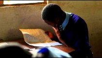 Testing in a classroom in a school in Kenya.