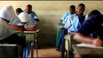 Testing in a classroom in a school in Africa.