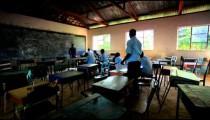 Classroom taking a test in a village in Kenya.
