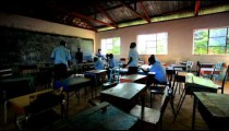 African Students testing in a class in Kenya.