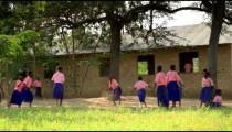 Boys playing during recess near a village in Kenya.