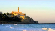 Mediterranean coast of Jaffa with St. Peter's Church shot in Israel at 4k with Red.