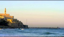 Stock Video Footage of St. Peter's Church and the Mediterranean Sea shot in Israel at 4k with Red.