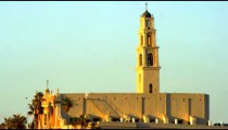 Stock Video Footage of the sunrise at St. Peter's Church, Jaffa, shot in Israel at 4k with Red.
