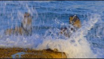Stock Video Footage of waves over a ruined pier on the Mediterranean shot in Israel at 4k with Red.