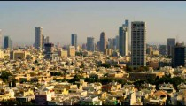 Royalty Free Stock Video Footage of a panoramic Tel Aviv skyline shot in Israel at 4k with Red.