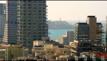 Stock Video Footage panoramic of Tel Aviv and the Mediterranean Sea shot in Israel at 4k with Red.