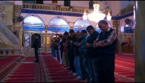 Royalty Free Stock Video Footage of praying muslims at a mosque filmed in Israel at 4k with Red.
