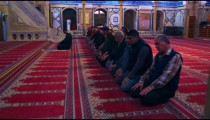 Royalty Free Stock Video Footage of kneeling muslim men filmed in Israel at 4k with Red.