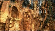 Royalty Free Stock Video Footage of carved cliff face at Banias shot in Israel at 4k with Red.