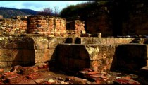 Royalty Free Stock Video Footage panorama of Agrippa Palace ruins shot in Israel at 4k with Red.