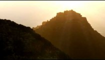 Royalty Free Stock Video Footage of a hazy Nimrod Fortress shot in Israel at 4k with Red.