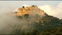 Royalty Free Stock Video Footage of Nimrod Fortress through fog shot in Israel at 4k with Red.