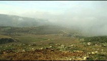Stock Video Footage panorama of pastoral hills and clouds shot in Israel at 4k with Red.