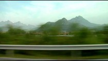 Mountain landscape in China from highway.