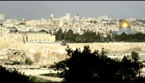 Stock Video Footage panorama of Old Jerusalem from Mt. of Olives shot in Israel at 4k with Red.