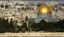 Royalty Free Stock Video Footage panorama of the Dome Of The Rock filmed in Israel at 4k with Red.