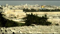 Stock Video Footage of Jewish Cemetery and Old Jerusalem filmed in Israel at 4k with Red.