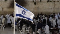 Stock Video Footage panorama of Jews at the Western Wall filmed in Israel at 4k with Red.