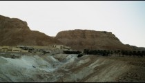 Royalty Free Stock Video Footage panorama of Masada area shot in Israel at 4k with Red.