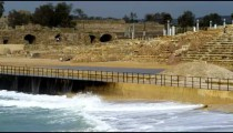 Royalty Free Stock Video Footage of Caesarea and waves shot in Israel at 4k with Red.