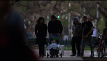 Stock Video Footage of Tel Aviv residents walking with strollers shot in Israel at 4k with Red.