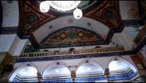 Stock Footage of interior arches and balcony of a mosque in Israel.