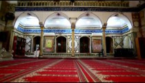 Stock Footage of interior arches at Jezzar Pasha Mosque in Israel.