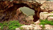 Stock Footage of a rock arch at Adamit Park Cave in Israel.