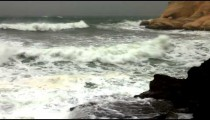 Stock Footage of the spray from waves at a rocky shore in Israel.
