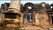 Stock Footage of an ancient synagogue's remaining facade at Bar'am in Israel.