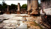 Stock Footage of the wet stone floor at the Bar'am ruins in Israel.