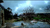 Stock Footage of Bar'am ruins on a stormy day in Israel.