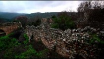 Stock Footage of remaining walls at Bar'am ruins in Israel.