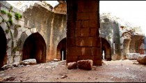 Stock Footage of a pillar and arches at Nimrod Fortress in Israel.