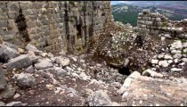 Stock Footage of crumbled walls at Nimrod Fortress in Israel.