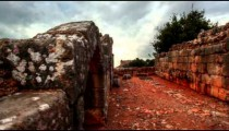 Stock Footage of interior walls at Nimrod Fortress in Israel.