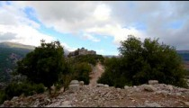 Stock Footage of the Nimrod Fortress hilltop in Israel.