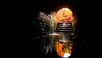 Stock Footage of a tunnel filling with water at the Palace of Agrippa in Israel.