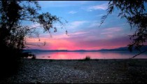 Stock Footage of a sunset from the shore of the Sea of Galilee in Israel.