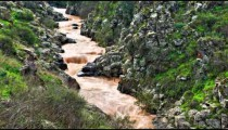 Stock Footage of a silty river with green and rocky banks in Israel.