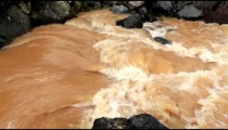 Stock Footage of a turbulent part of a brown river in Israel.