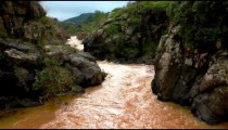 Stock Footage of the rocky banks of a silted river in Israel.