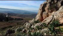 Stock Footage of a rocky hillside in the Golan Heights in Israel.