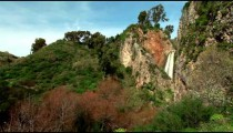 Stock Footage panorama of Iyon Tanur waterfall in Israel.