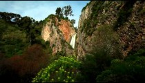 Stock Footage of the green and rocky setting of Iyon Tanur waterfall in Israel.