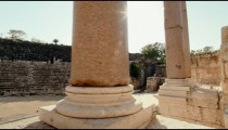 Stock Footage of columns at the theater at Beit She'an in Israel.