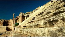 Stock Footage of stone seating at the theater at Beit She'an in Israel.