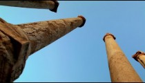 Stock Footage looking up ancient columns at the sky at Beit She'an in Israel.