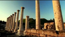 Stock Footage of Ionic order columns at Beit She'an in Israel.